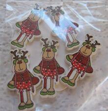 Wooden Buttons!  XMAS THEME!! CARTOON REINDEER !!!  **NEW**