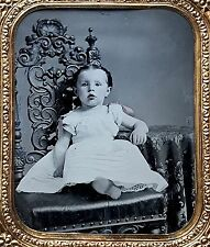 1/6 PLATE TINTYPE - OMG! WHAT A FRICKIN' CUTE KID - TINTED TINTYPE IN FULL CASE