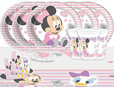 Baby Minnie Mouse Party Tableware Pack for 16 Kids Birthday Decorations Pink 1st