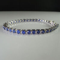 15.00 Ct Sapphire and Diamond 14k White Gold Tennis Bracelet Over Silver 7.5""