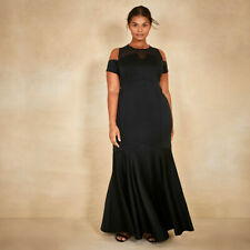New COAST Lorna Black Fishtail Bardot Evening Maxi Dress Ball Gown Size 24 £119