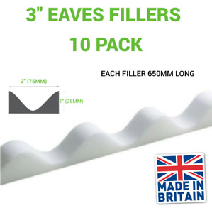 """3"""" Eaves Fillers Hight 1"""" White (10 Pack 6.5m Length Total)"""