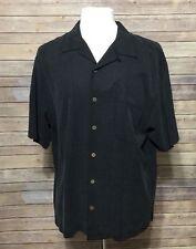 Tommy Bahama Charcoal Gray Large Camp Short Sleeve Shirt 100% Silk Martini