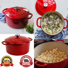 Enameled Cast Iron 5.5 Quart Dutch Oven Cookware Stainless Steel Knob Red Dutch