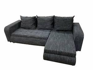 Universal Corner Sofa Bed BROOKLYN with Storage in Black.