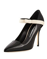Manolo Blahnik Mary Jane Pumps Immaculada Black Patent Pointy Toe Shoe 40