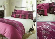 Luxury Embellished Clarissa Cream & Purple Plum Double Duvet Cover Set
