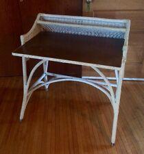 Vintage White Wicker Desk Summer Porch Veranda Home Office Shabby Chic 1920s
