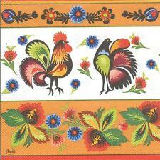 2 Serviettes en papier Coq Poule Blanc Orange Paper Napkins Rooster