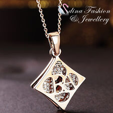 18K Rose Gold Plated Simulated Diamond Creative Double Rhombus Shaped Necklace