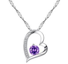 Valentine's Fashion Jewelry - Heart pendant with Purple Zircon necklace in box