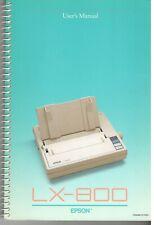 New listing Vintage 1987 Epson Lx-800 Printer User's Manual-Printed in Japan