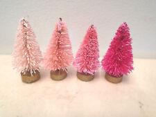 Mini Pink Rose Fuchsi Christmas Bottle Brush Trees Dollhouse Miniatures Tiny