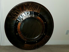 "Porthole Mirror 34.50"" BENT WOOD heavy, 1990 vintage ELEGANT RARE CUSTOM!"