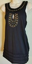 Mur Mur Black Sleeveless Chain Stud Embellished Top Cut Out Back Sz S Small