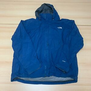 The North Face Coat Mens 2XL XXL Blue Hooded Full Zip Rain Jacket