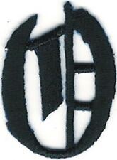 "1 1/8"" Fancy Black Old English Alphabet Letter O Embroidered Patch"
