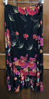 CHICO'S TRAVELERS Sz 3 Black Red Floral Polyester Stretch Maxi Skirt Ruffle Hem
