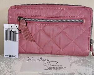 VERA BRADLEY  Iconic RFID Turnlock Wallet STRAWBERRY ICE #25445-R44 NWT TWILL