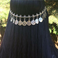 Gypsy Coins Tassel Head Chain Headpiece Headband Bohemian Jewelry-Silver