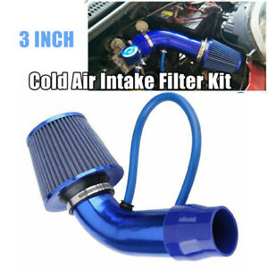 Blue Car Auto Cold Air Intake Filter Induction Kit Pipe Power Flow Hose System