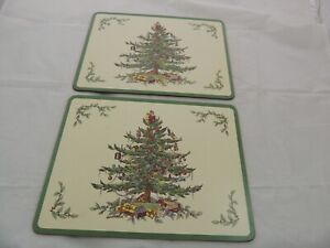 """Holiday SET OF 2 Luncheon  Pimpernel Place Mats Spode Christmas Tree 12"""" x 9"""""""
