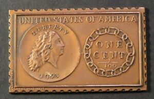 1793 U. S. Flowing Hair Chain Large Cent Numistamp Medal 1977 Mort Reed