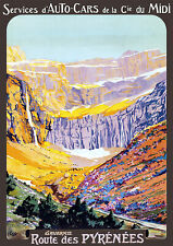 Affiche chemin de fer Midi - Route des Pyrénées Gavarnie