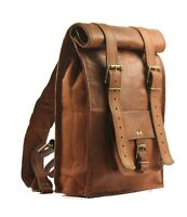 Real genuine men's leather backpack bag satchel laptop briefcase brown vintage