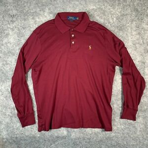 Ralph Lauren Polo Shirt Mens Large Red Long Sleeve Classic Fit Multi Pony X1