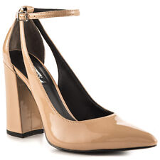 GUESS GW Braya 7 Medium Pink Leather Pointed Toe Block Heel Ankle Strap Pump New