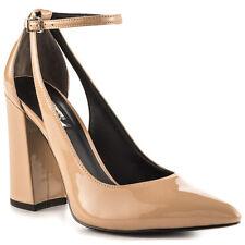 GUESS GW Braya 6.5 Medium Pink Leather Pointed Toe Block Heel Ankle Strap Pump