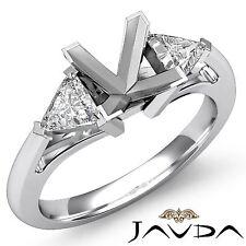 3 Stone Trillion Diamond Unique Wedding Princess Mount Ring 14k White Gold 0.5Ct
