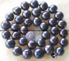 GENUINE 12-13mm natural south sea Black pearl necklace 18inch Long
