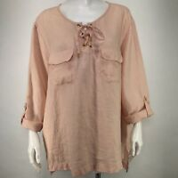 Company Ellen Tracy Womens XXL Shirt Tunic Linen Champagne Peach High Low Beach