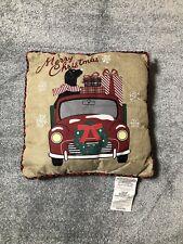 "Red Vintage Christmas Truck, Christmas Tree Faux Burlap Pillow 16""x16"" Plaid Dog"