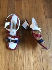 Vtg 60s Mod Red White and Blue Sandals 6.5