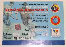 Ticket for collectors EURO q Romania - Denmark 2003 in Bucarest