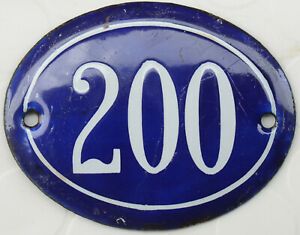 Old blue oval French house number 200 door gate plate plaque enamel steel sign