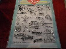 A4 Sheet of 21 :- Fabulous 50's Resin Stamp's [ Jukebox / Hamburger / car & more