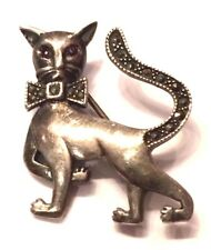 Vintage Oxidized Sterling Silver 925 Marcasite Cat Animal Bow Accent Pin Brooch