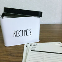 Rae Dunn Tin Recipe Box w/ Recipe Cards Dividers White Black Hostess Bridal Gift