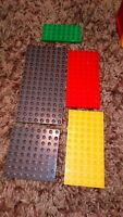5 LEGO DUPLO BASE BOARDS ASSORTED SIZE LOVELY CONDITION  YELLOW GREEN GREY RED