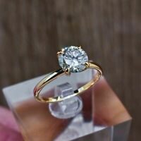 1 Ct Round Brilliant Cut Diamond Solitaire Engagement Ring 14K Yellow Gold Over