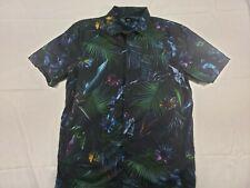 vans short sleeve black dress shirt with floral pattern mens size XL good cond.