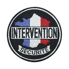 Patch écusson en fil brodé France Tricolore INTERVENTION SÉCURITÉ  9 cm diamètre