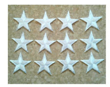"""1 1//4/"""" ONE DOZEN - 12 3.1cm ROYAL BLUE EMBROIDERED STARS IRON ON PATCHES"""