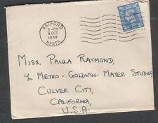 England 1950 cover & letter Peter G Ausden Watford to Mgm Metro Goldwyn Mayer Ca
