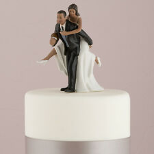 Playful Football Couple Wedding Cake Topper Dark Skin Tone