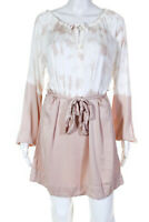 Chaser Womens Long Sleeve Tie Dye Belted Shift Dress Beige Size Small